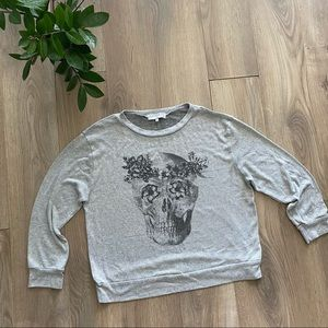 Urban Outfitters Gray Skull Crewneck Sweater